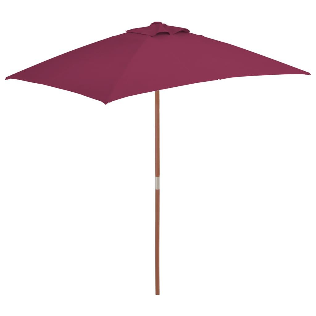 vidaXL Umbrelă de soare de exterior, stâlp lemn, 150x200 cm roșu bordo imagine vidaxl.ro