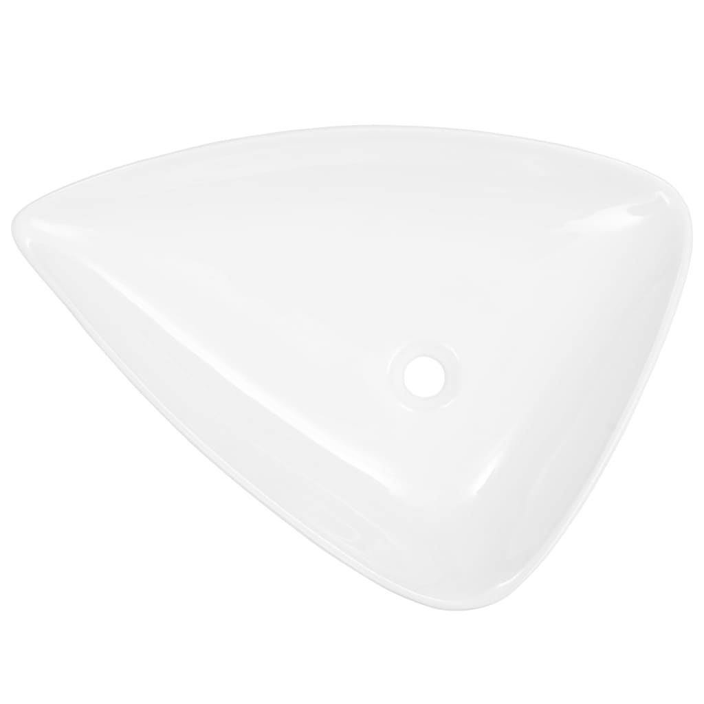 vidaXL Wastafel driehoekig 645x455x115 mm keramiek wit
