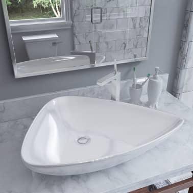vidaXL Lavabo de cerámica triangular blanco 645x455x115 mm[1/7]