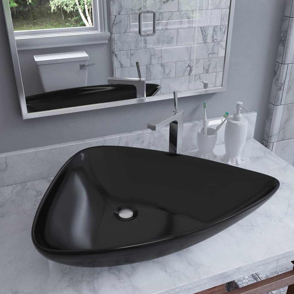 vidaXL Keramické umyvadlo trojúhelníkové černé 645 x 455 x 115 mm