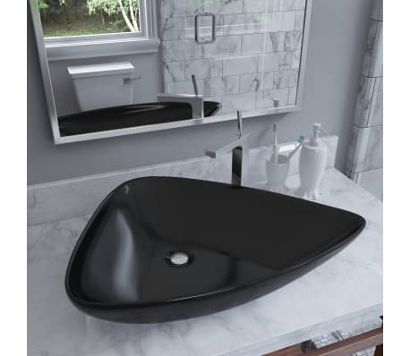 vidaXL Lavabo de cerámica triangular negro 645x455x115 mm[1/7]