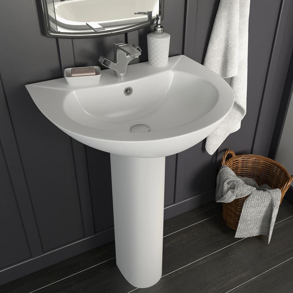 vidaXL Chiuvetă de baie cu piedestal, alb, 520x440x190 mm, ceramică poza 2021 vidaXL