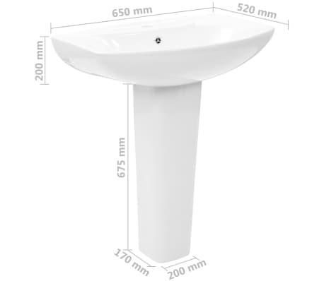 vidaXL Lavabo de pie de cerámica blanco 650x520x200 mm[7/7]