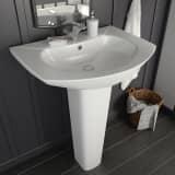 vidaXL Umywalka z postumentem, ceramiczna, biała, 650x520x200 mm