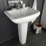 vidaXL Freistehendes Waschbecken mit Säule Keramik Weiß 580x470x200 mm