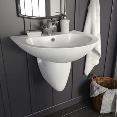 vidaXL Umywalka ścienna, ceramiczna, biała, 520 x 450 x 190 mm[1/6]
