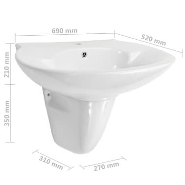 vidaXL Lavabo de pared de cerámica blanco 690x520x210 mm[6/6]