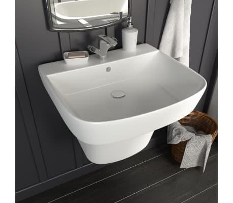 vidaXL Lavabo de pared de cerámica blanco 500x450x410 mm[1/7]