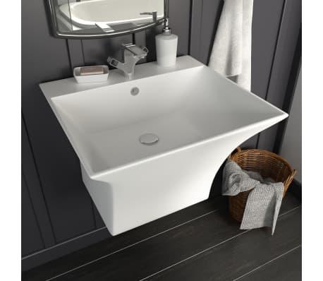 vidaXL Umywalka ścienna, ceramiczna, biała, 500 x 450 x 410 mm[1/6]
