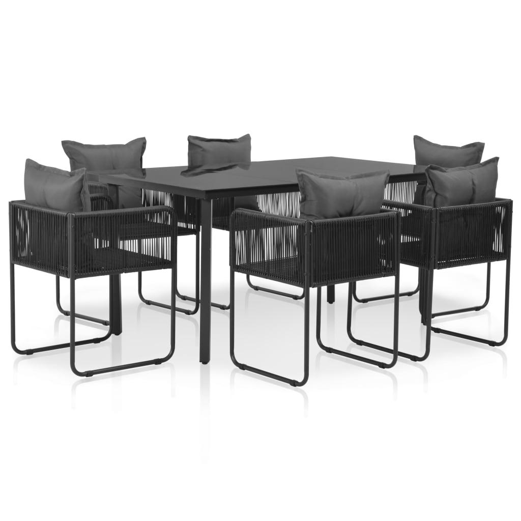 vidaXL Set mobilier de exterior cu perne, 7 piese, negru, poliratan vidaxl.ro