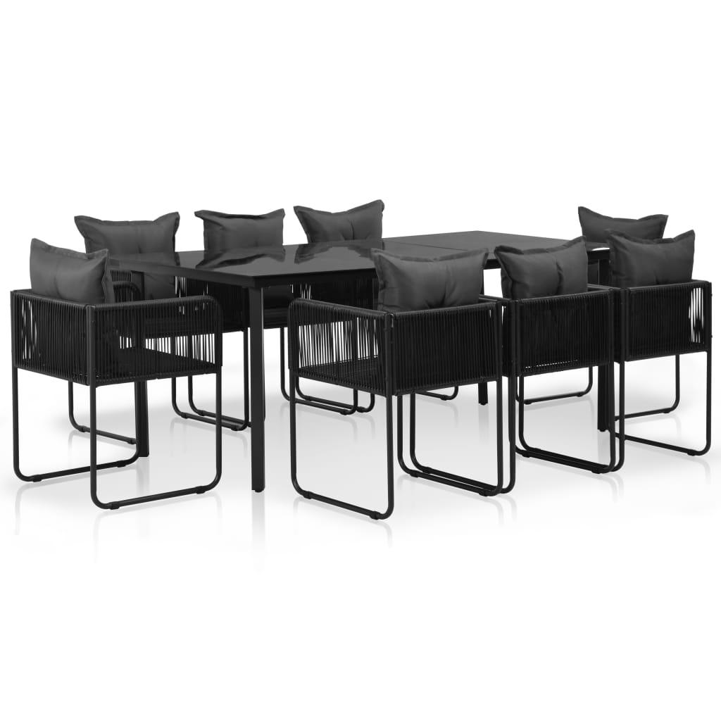vidaXL Set mobilier de exterior cu perne, 9 piese, negru, poliratan poza vidaxl.ro