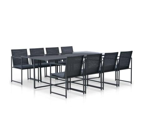 vidaXL udendørs spisebordssæt 9 dele med hynder polyrattan sort