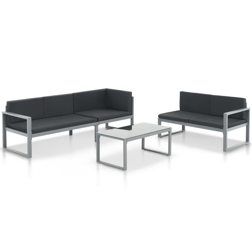vidaXL Loungeset aluminium zwart 3-delig