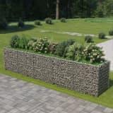 vidaXL Planteringsgabion upphöjd galvaniserat stål 450x90x100 cm