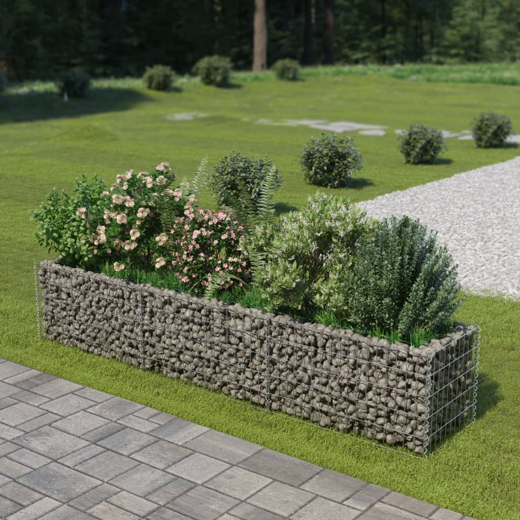 Jardin Sur Une Terrasse détails sur vidaxl jardinière en gabion acier galvanisé 270x50x50 cm jardin  terrasse patio