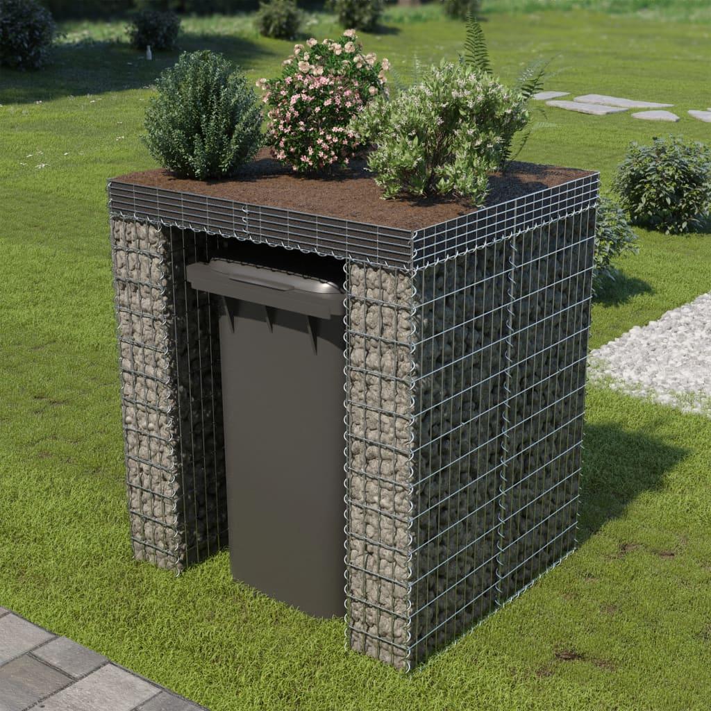 Meuble Cache Poubelle Interieur vidaxl mur en gabion et abri de poubelle acier galvanisé