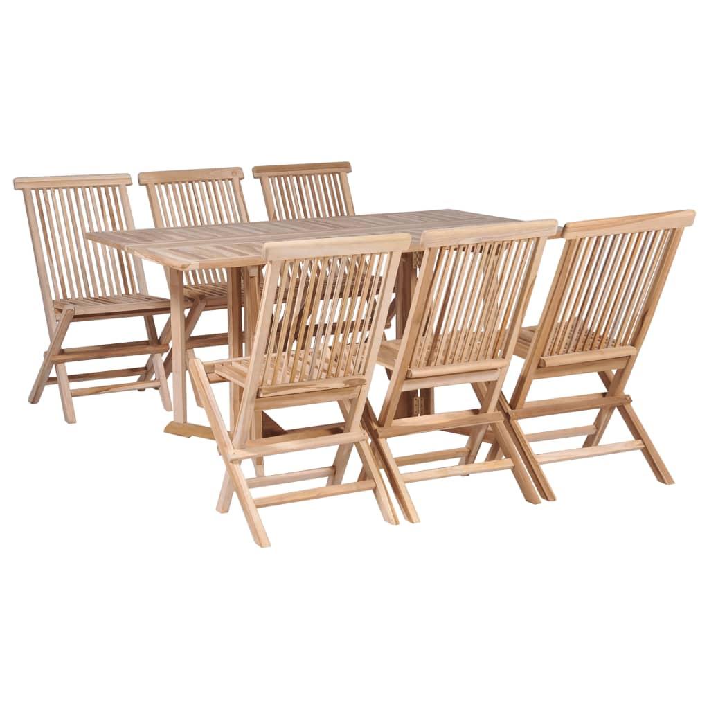 vidaXL Σετ Τραπέζι και Καρέκλες Πτυσσόμενα 7 τεμ. από Μασίφ Ξύλο Teak