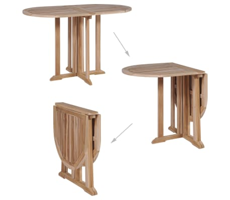 Vidaxl Table De Salle A Manger Pliante Teck Massif 120x70x75 Cm