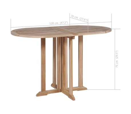 Vidaxl À Cm De Salle Teck Manger Pliante Table Massif 120x70x75 m0Nnwyv8O