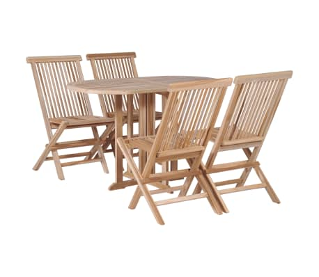 Vidaxl Folding Dining Table And Chair Set 5 Pieces Solid