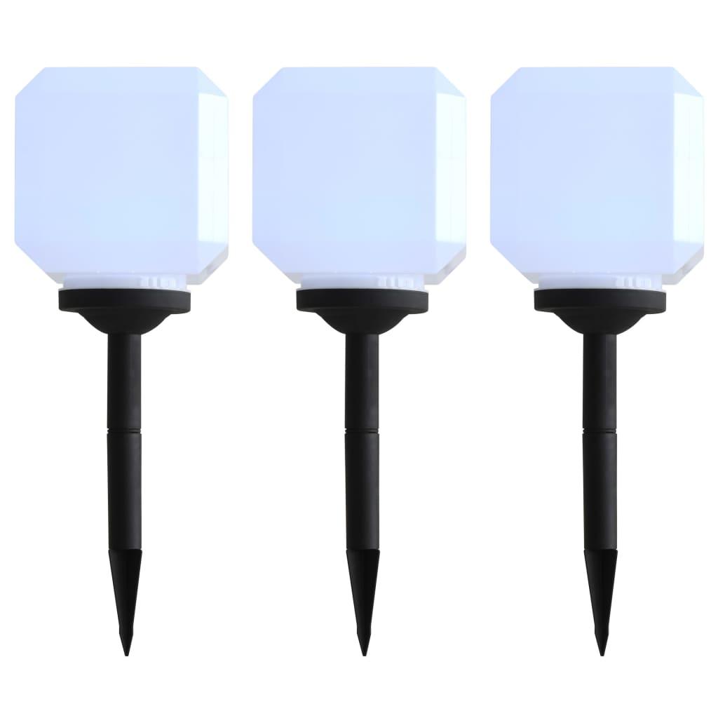 Zahradní solární lampy 3 ks LED krychlové 20 cm bílé