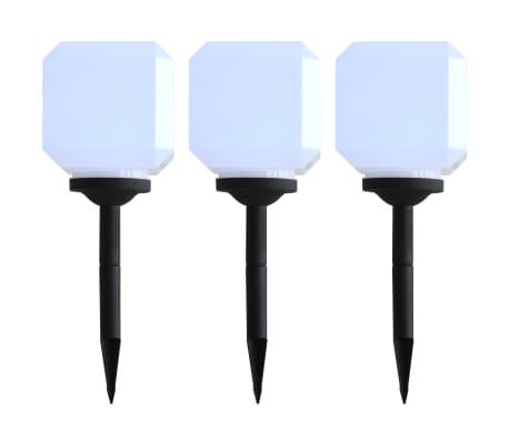 vidaXL Lámparas solares LED de exterior 3 uds cúbicas 20 cm blanco