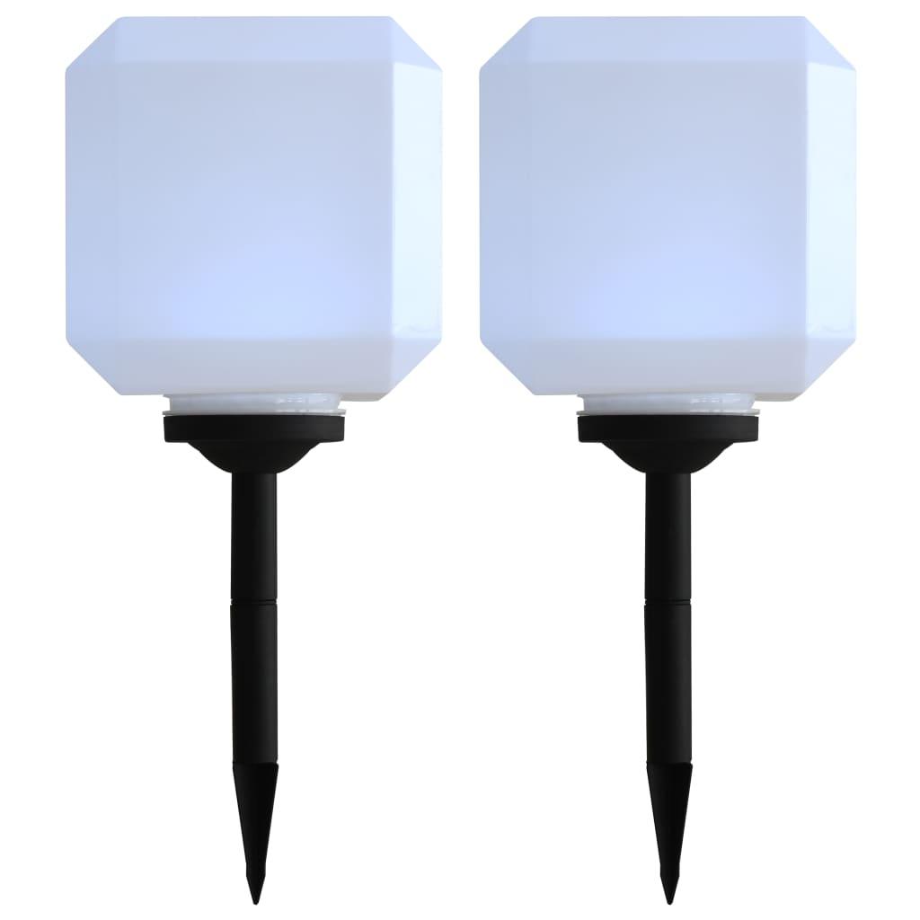 Zahradní solární lampy 2 ks LED krychlové 20 cm bílé