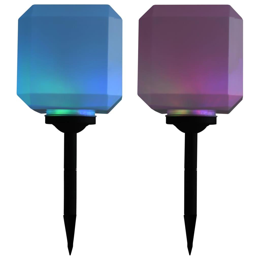 Zahradní solární lampy 2 ks LED krychlové 20 cm RGB