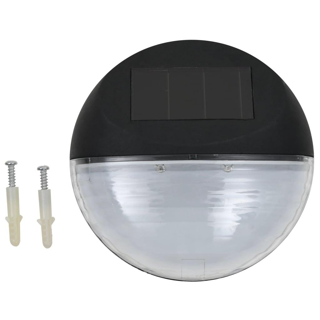 VidaXL LED wandlampen solar rond zwart 12 st