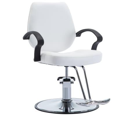 vidaXL Silla de peluquería de cuero sintético blanca