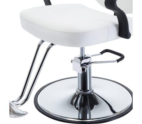 vidaXL Fotel barberski ze sztucznej skóry, biały[5/8]