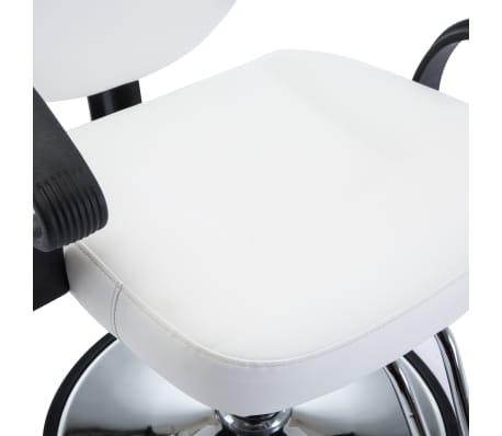 vidaXL Fotel barberski ze sztucznej skóry, biały[6/8]