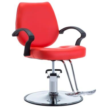 vidaXL Silla de peluquería de cuero sintético roja[1/8]