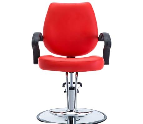 vidaXL Silla de peluquería de cuero sintético roja[2/8]