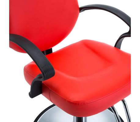 vidaXL Silla de peluquería de cuero sintético roja[4/8]