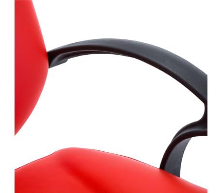 vidaXL Silla de peluquería de cuero sintético roja[5/8]