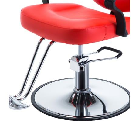 vidaXL Silla de peluquería de cuero sintético roja[6/8]