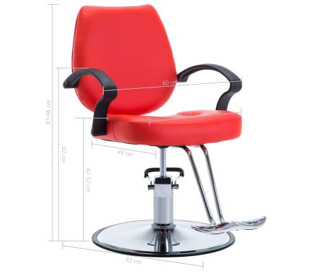 vidaXL Silla de peluquería de cuero sintético roja[8/8]