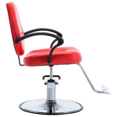 vidaXL Silla de peluquería de cuero sintético roja[3/8]