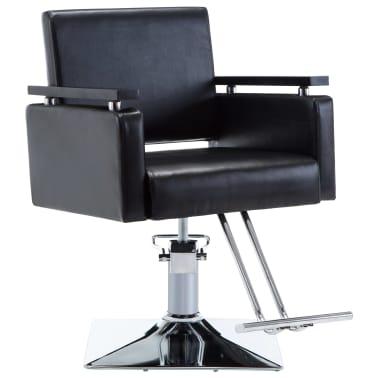vidaXL Fotel barberski ze sztucznej skóry, czarny[1/7]