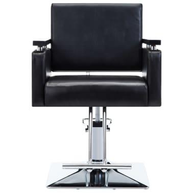 vidaXL Fotel barberski ze sztucznej skóry, czarny[2/7]