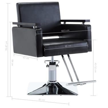 vidaXL Fotel barberski ze sztucznej skóry, czarny[7/7]
