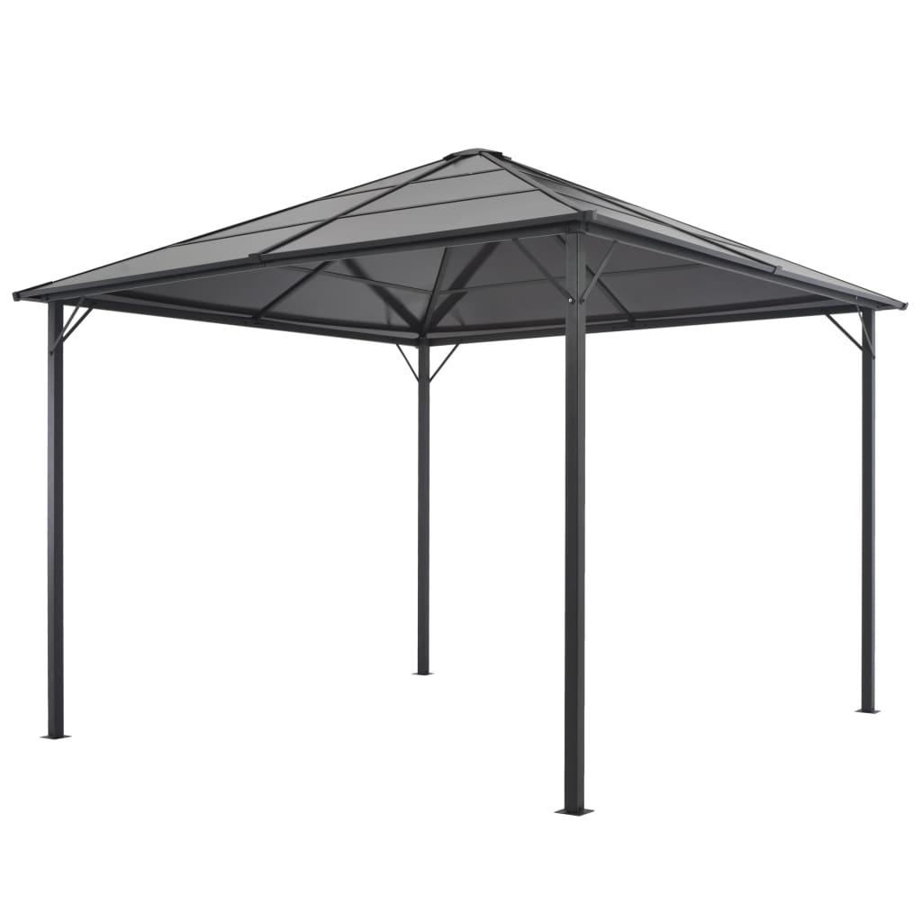 vidaXL Pavilion cu acoperiș, negru, 3 x 3 m, aluminiu imagine vidaxl.ro