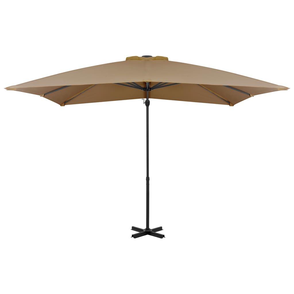Konsooldisainiga päikesevari, alumiinium, pruunikas, 250x250cm
