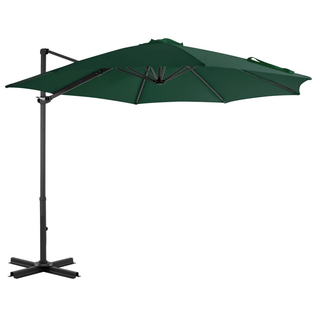 vidaXL Umbrelă suspendată cu stâlp din aluminiu, verde, 300 cm poza 2021 vidaXL