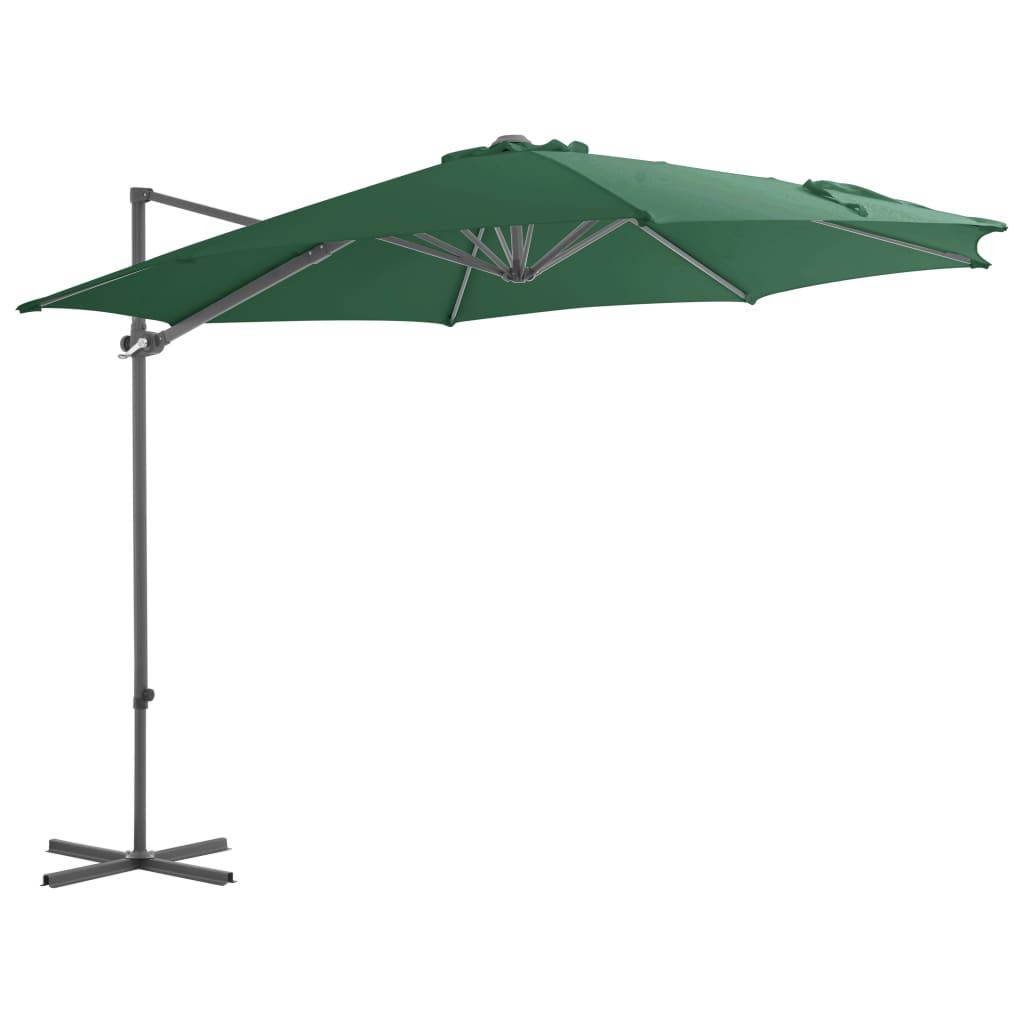 vidaXL Umbrelă suspendată cu stâlp din oțel, verde, 300 cm imagine vidaxl.ro