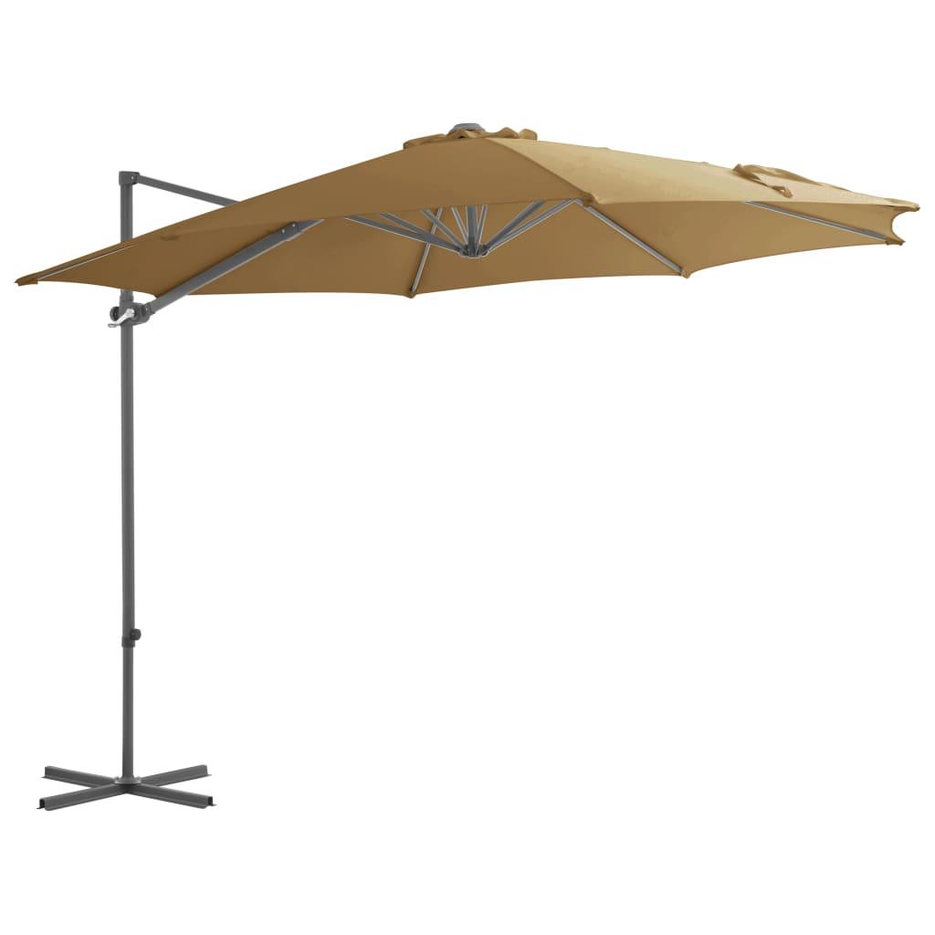 vidaXL Konzolový slunečník s ocelovou tyčí 300 cm barva taupe