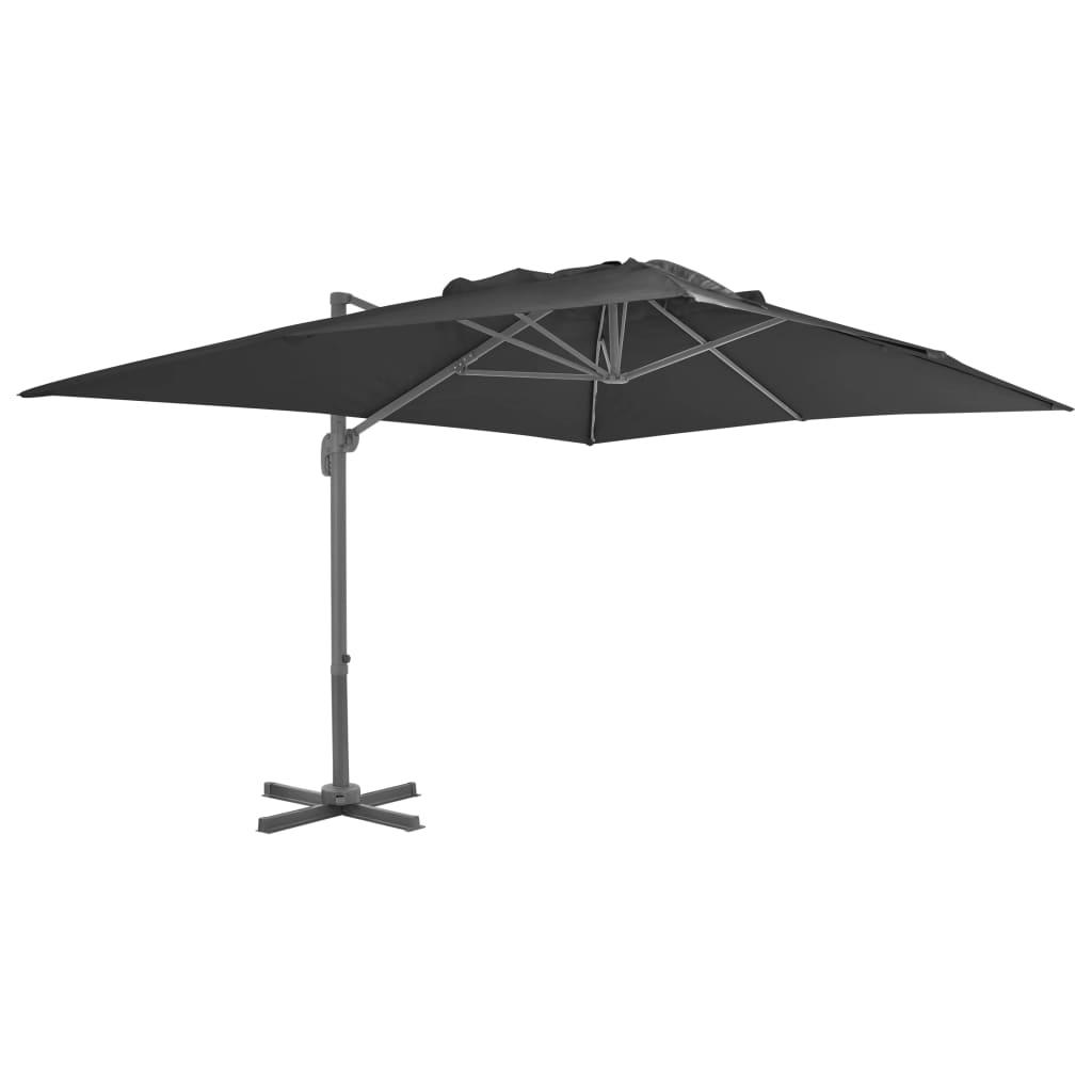 vidaXL Umbrelă suspendată cu stâlp din aluminiu, antracit, 400x300 cm vidaxl.ro