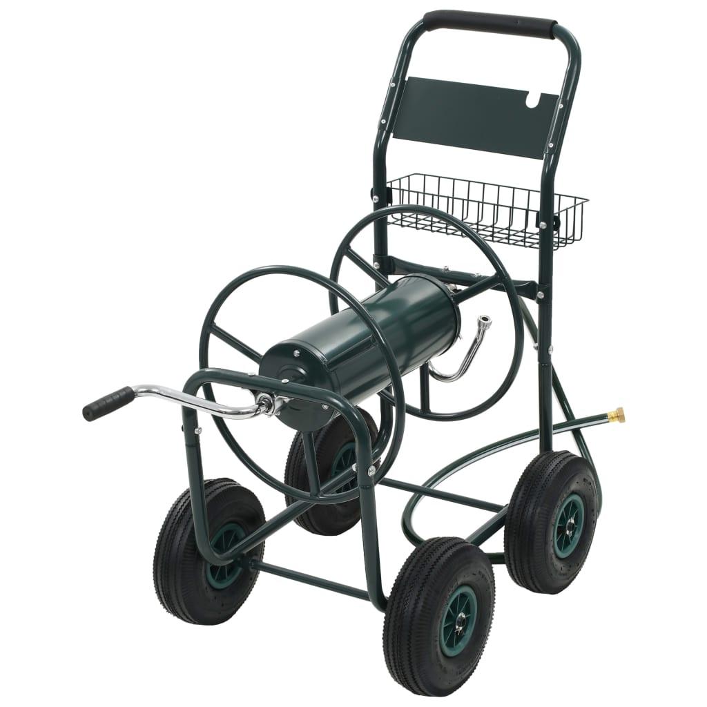 Vozík na zahradní hadici s navijákem 1/2'' zelený ocelový