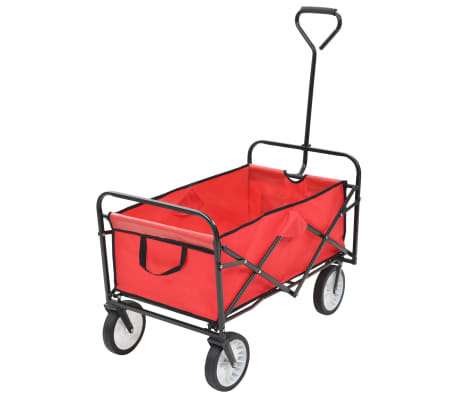 vidaXL Folding Hand Trolley Steel Red